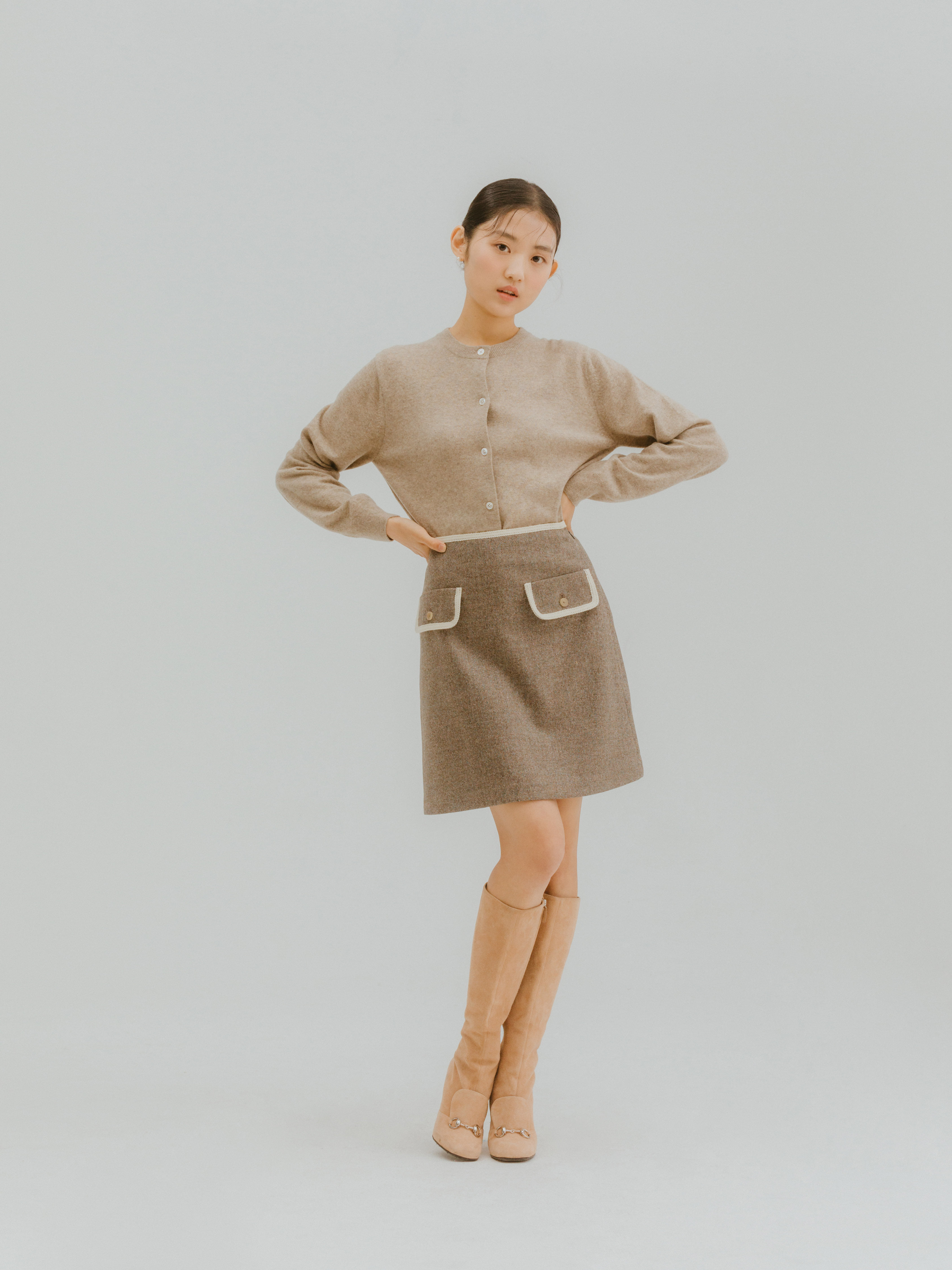 Lien tweed skirt(Beige) (2차 입고)
