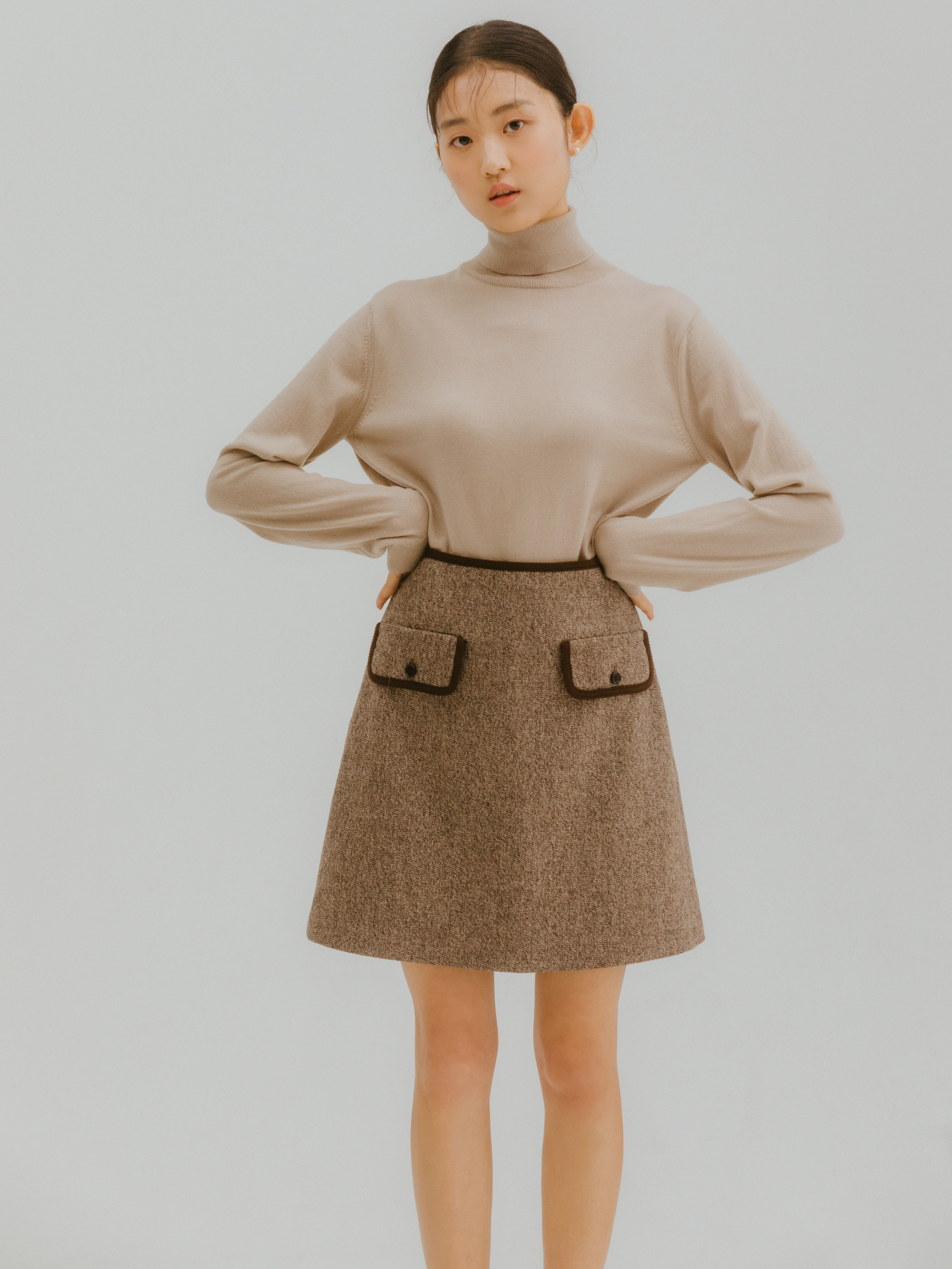 Lien tweed skirt(Brown)