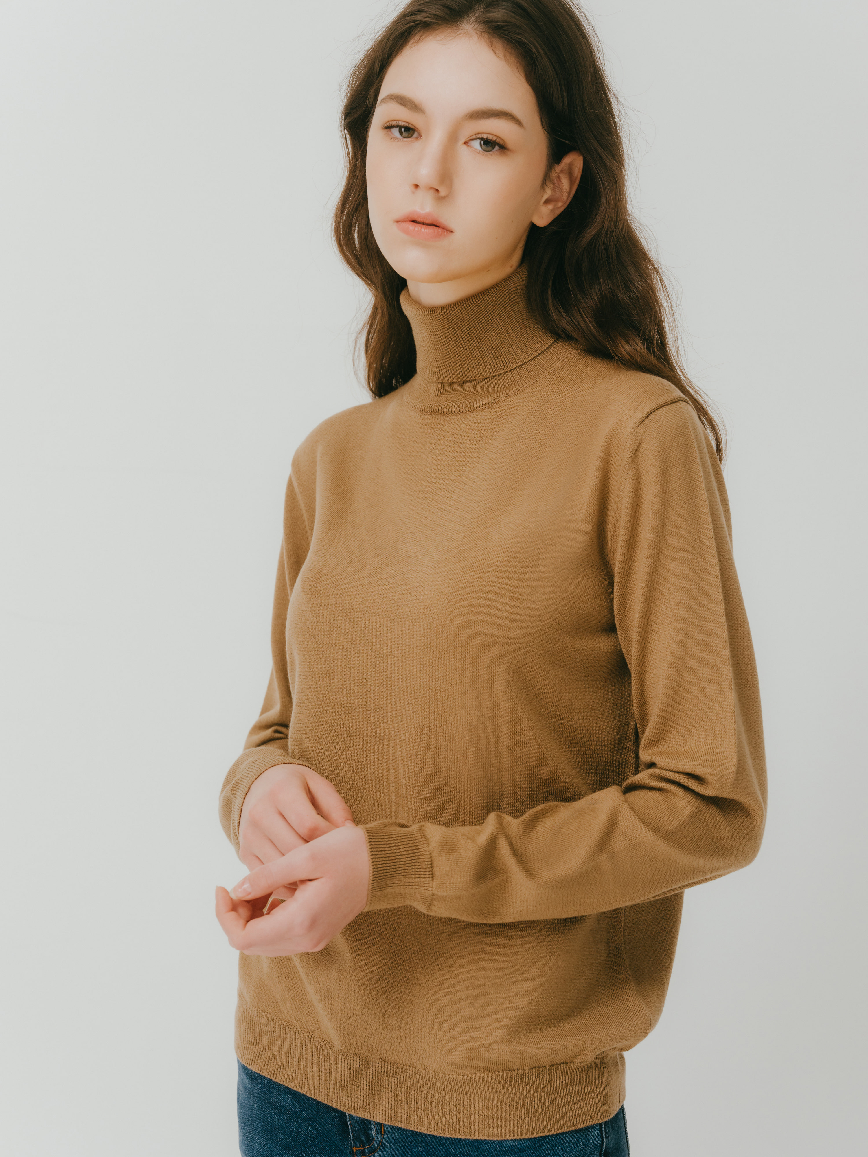 Lonio Turtle neck knit(Camel)