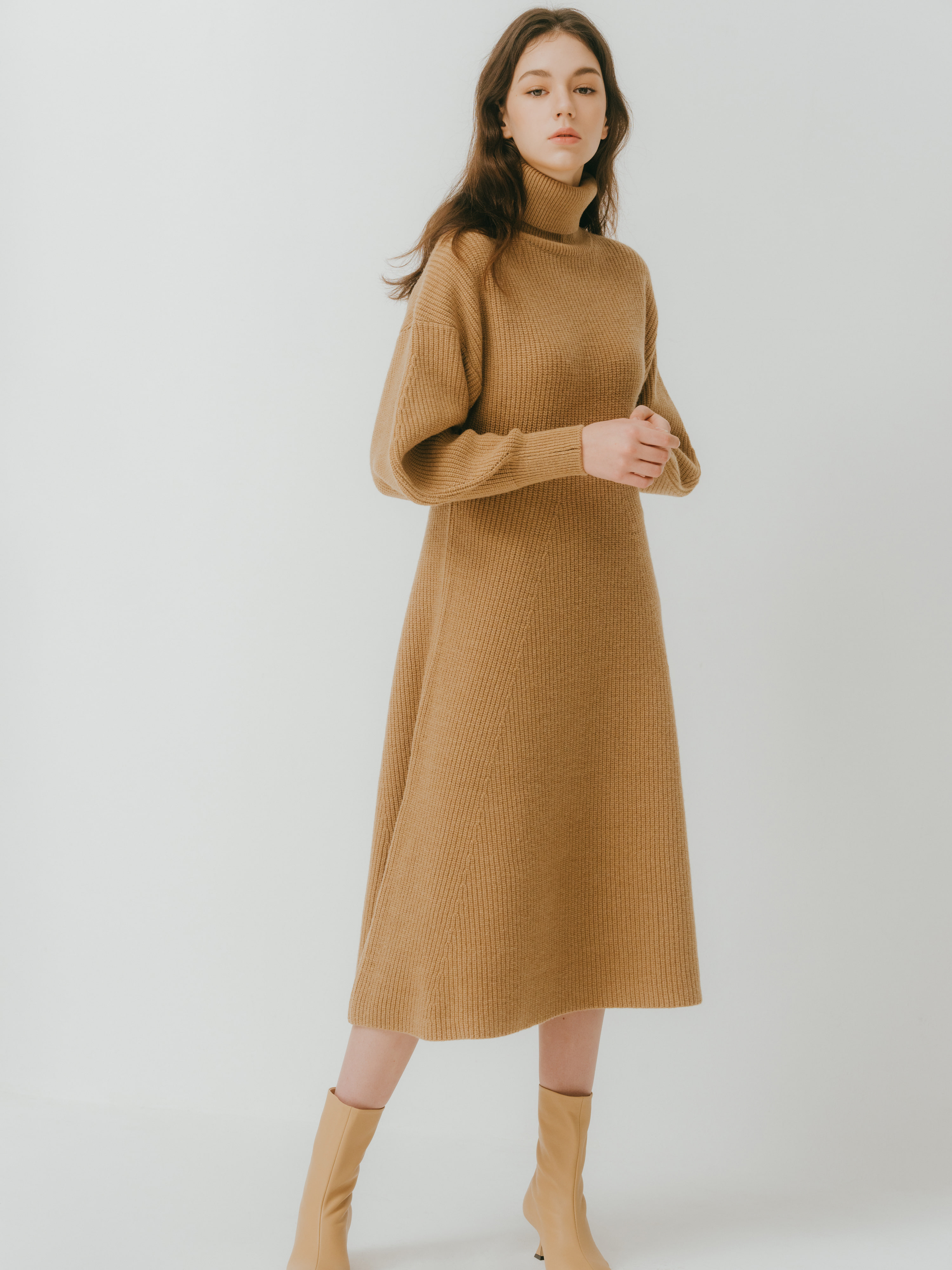 Ribre dress(Camel) 2차 입고